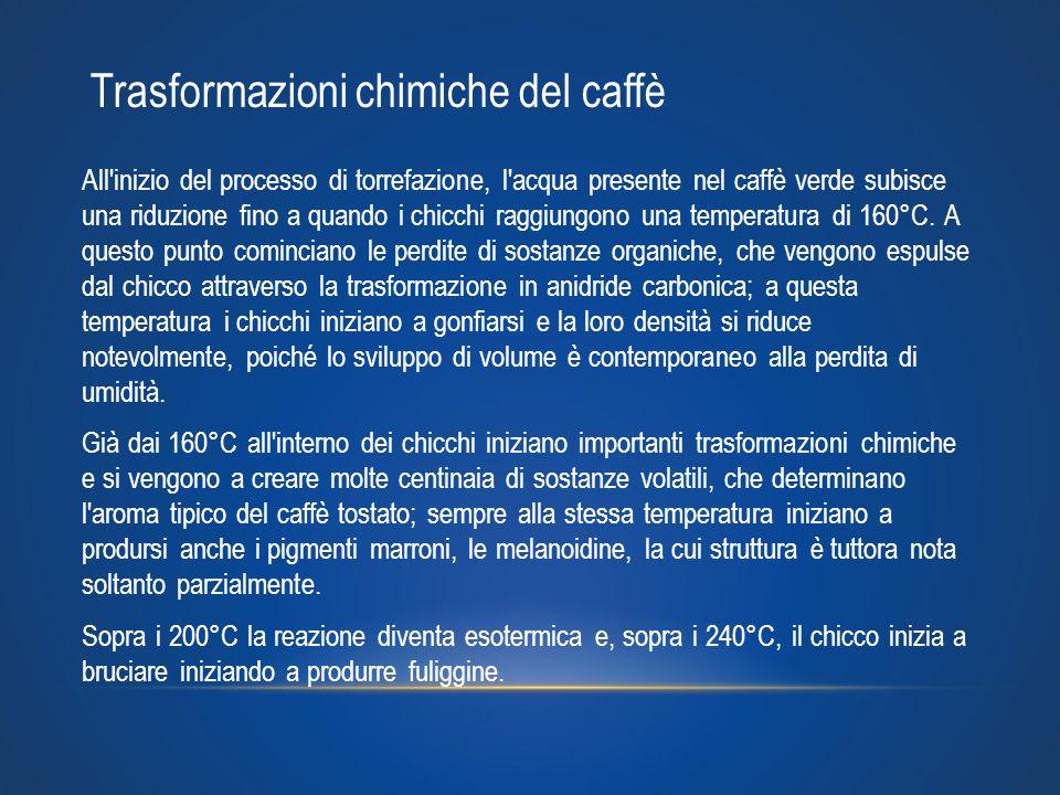 All'inizio del processo di torrefazione, l'acqua presente nel caffè verde subisce una riduzione fino a quando i chicchi raggiungono una temperatura di