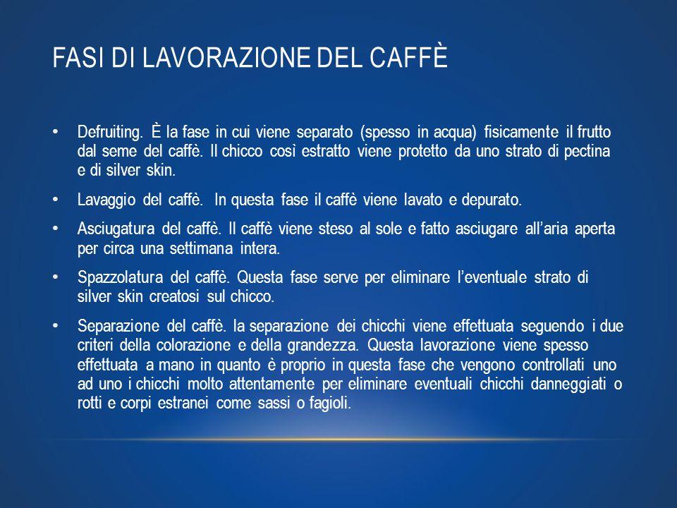 FASI DI LAVORAZIONE DEL CAFFÈ Defruiting. È la fase in cui viene separato (spesso in acqua) fisicamente il frutto dal seme del caffè. Il chicco così e