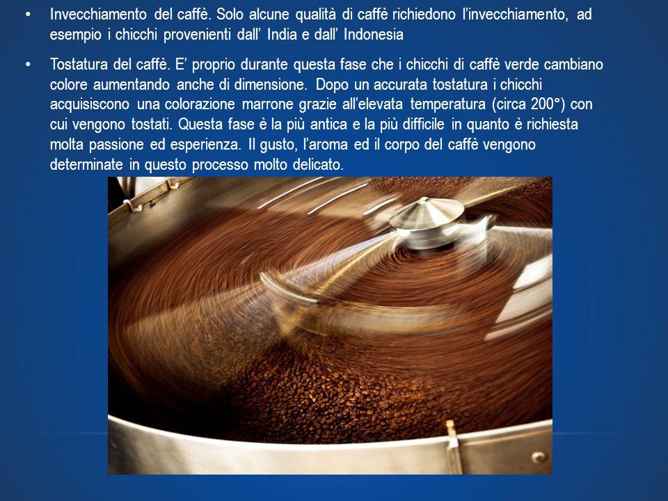 Invecchiamento del caffè. Solo alcune qualità di caffè richiedono l'invecchiamento, ad esempio i chicchi provenienti dall' India e dall' Indonesia Tos