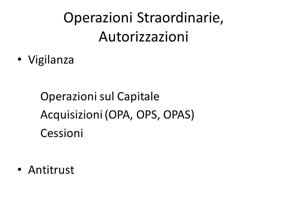 Operazioni Straordinarie, Autorizzazioni Vigilanza Operazioni sul Capitale Acquisizioni (OPA, OPS, OPAS) Cessioni Antitrust