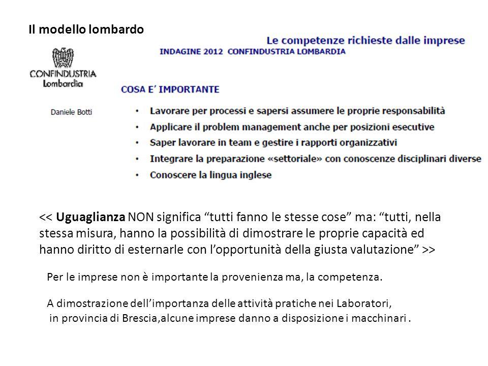 Il modello lombardo > Per le imprese non è importante la provenienza ma, la competenza. A dimostrazione dell'importanza delle attività pratiche nei La