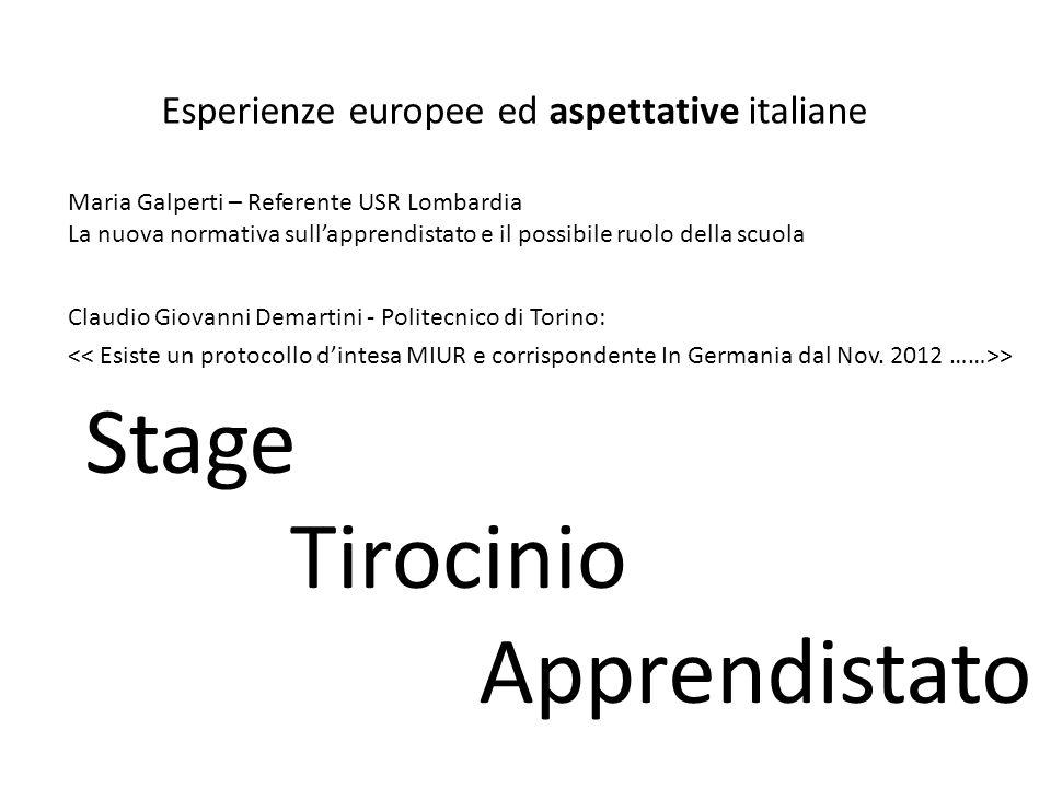 Claudio Giovanni Demartini - Politecnico di Torino: > Esperienze europee ed aspettative italiane Maria Galperti – Referente USR Lombardia La nuova nor