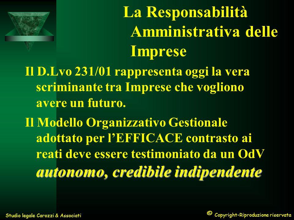 © Copyright-Riproduzione riservata Studio legale Carozzi & Associati La Responsabilità Amministrativa delle Imprese Il D.Lvo 231/01 rappresenta oggi la vera scriminante tra Imprese che vogliono avere un futuro.