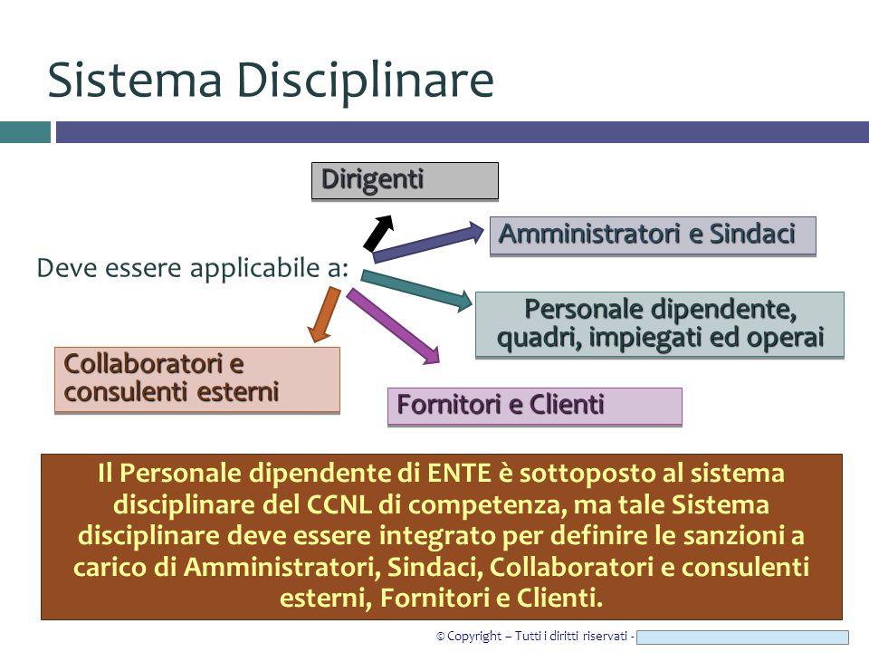 © Copyright – Tutti i diritti riservati - Studio Legale CAROZZI & ASSOCIATI Sistema Disciplinare Deve essere applicabile a: Personale dipendente, quad