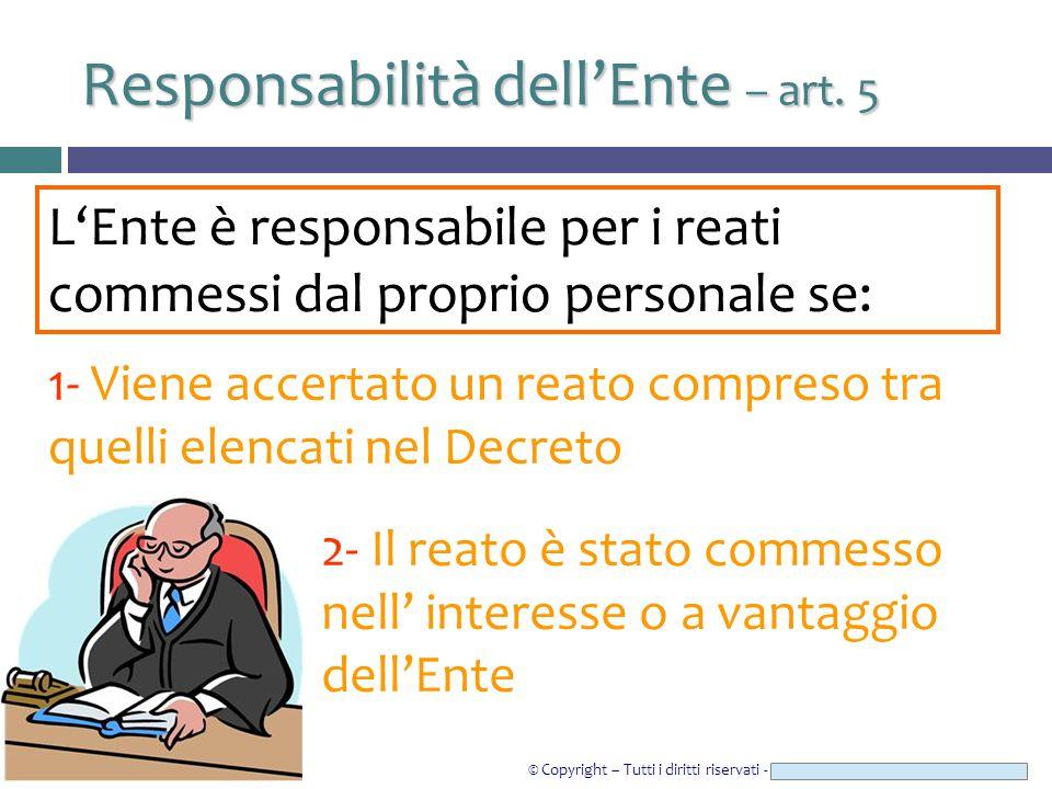 © Copyright – Tutti i diritti riservati - Studio Legale CAROZZI & ASSOCIATI Responsabilità dell'Ente – art. 5 L'Ente è responsabile per i reati commes
