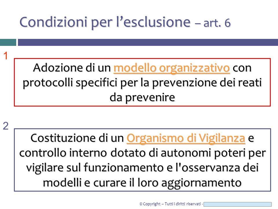 © Copyright – Tutti i diritti riservati - Studio Legale CAROZZI & ASSOCIATI Condizioni per l'esclusione – art. 6 1 2 Adozione di un modello organizzat