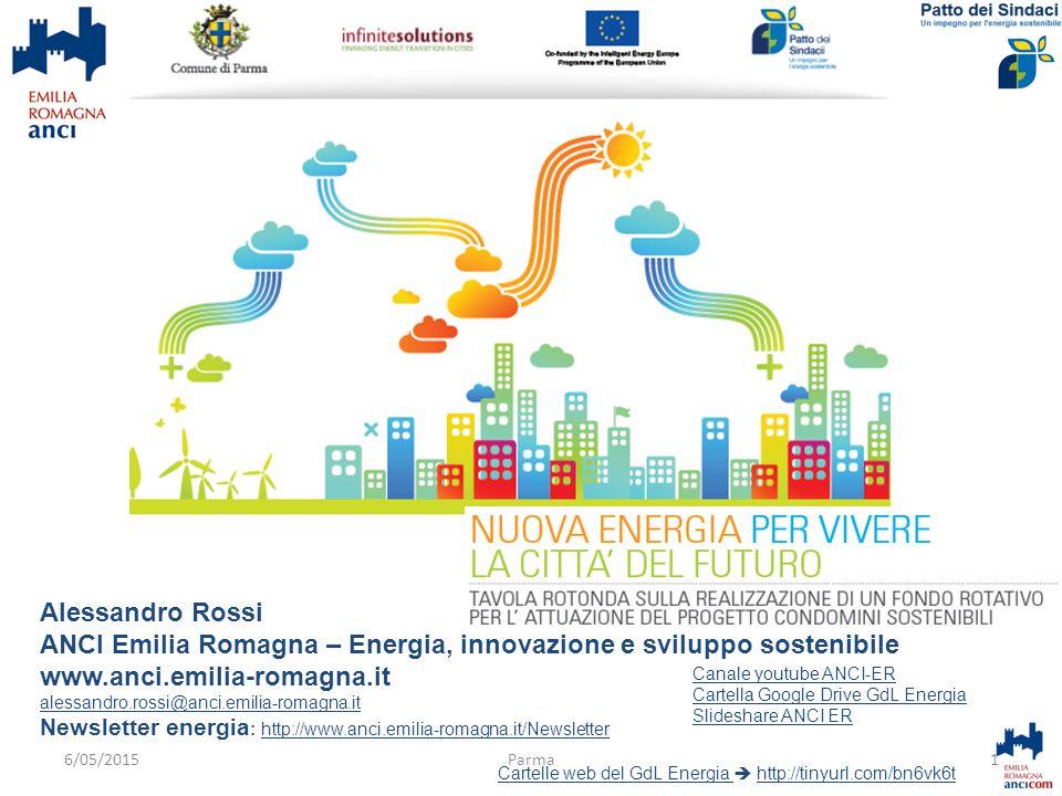 Alessandro Rossi ANCI Emilia Romagna – Energia, innovazione e sviluppo sostenibile www.anci.emilia-romagna.it alessandro.rossi@anci.emilia-romagna.it Newsletter energia : http://www.anci.emilia-romagna.it/Newsletterhttp://www.anci.emilia-romagna.it/Newsletter Cartelle web del GdL Energia Cartelle web del GdL Energia  http://tinyurl.com/bn6vk6thttp://tinyurl.com/bn6vk6t 1Parma Canale youtube ANCI-ER Cartella Google Drive GdL Energia Slideshare ANCI ER 6/05/2015