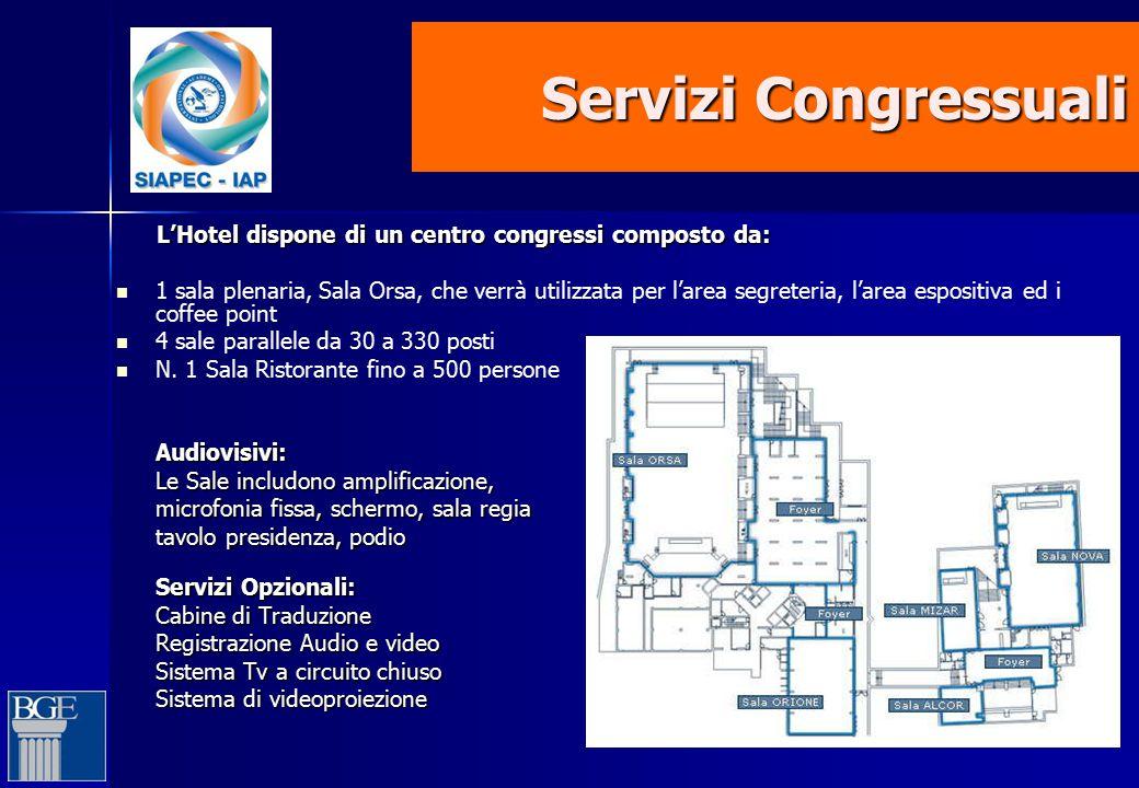 Servizi Congressuali L'Hotel dispone di un centro congressi composto da: L'Hotel dispone di un centro congressi composto da: 1 sala plenaria, Sala Ors