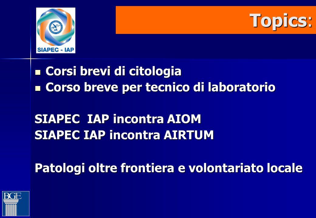Topics: Topics: Corsi brevi di citologia Corsi brevi di citologia Corso breve per tecnico di laboratorio Corso breve per tecnico di laboratorio SIAPEC