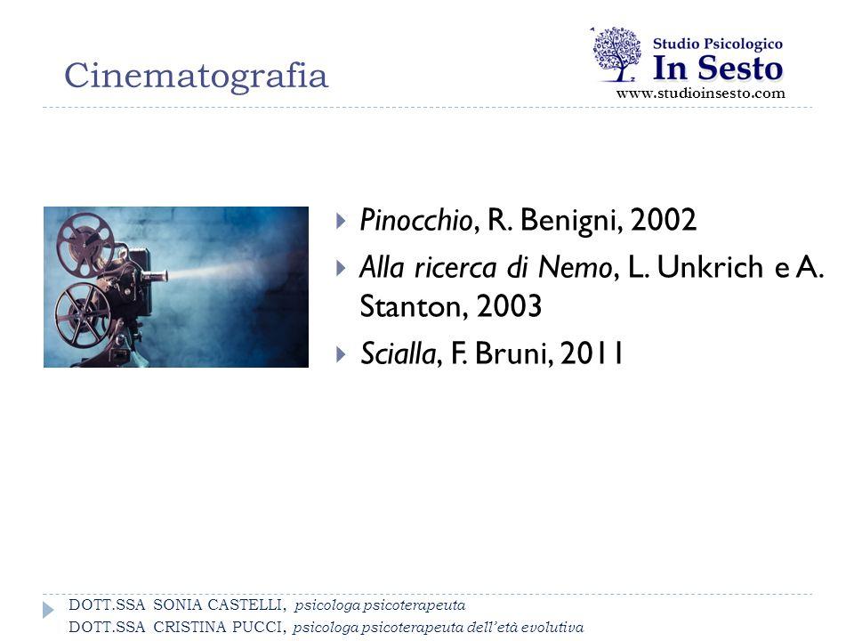 Cinematografia  Pinocchio, R. Benigni, 2002  Alla ricerca di Nemo, L. Unkrich e A. Stanton, 2003  Scialla, F. Bruni, 2011 www.studioinsesto.com DOT