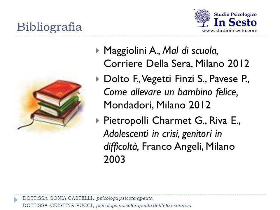 Bibliografia www.studioinsesto.com  Maggiolini A., Mal di scuola, Corriere Della Sera, Milano 2012  Dolto F., Vegetti Finzi S., Pavese P., Come alle