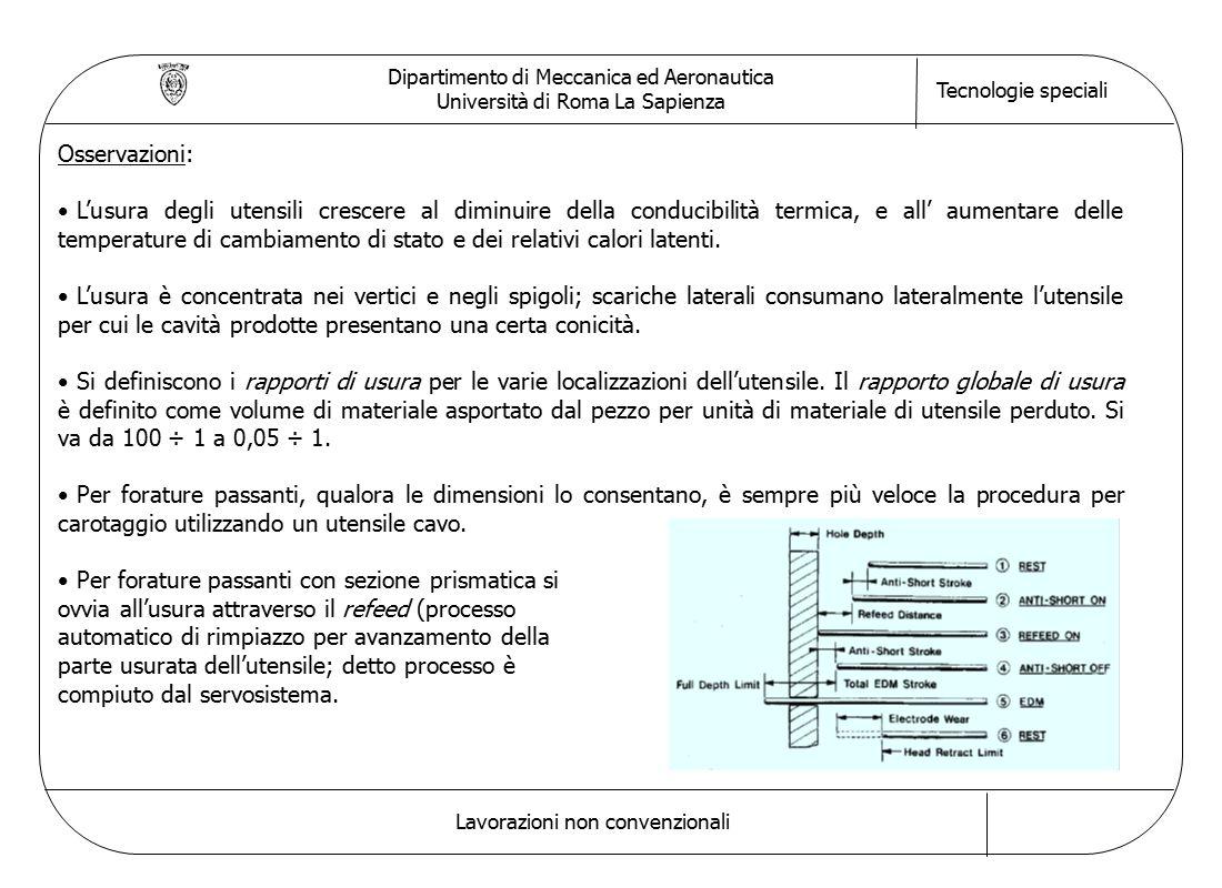 Dipartimento di Meccanica ed Aeronautica Università di Roma La Sapienza Tecnologie speciali Lavorazioni non convenzionali Osservazioni: L'usura degli utensili crescere al diminuire della conducibilità termica, e all' aumentare delle temperature di cambiamento di stato e dei relativi calori latenti.