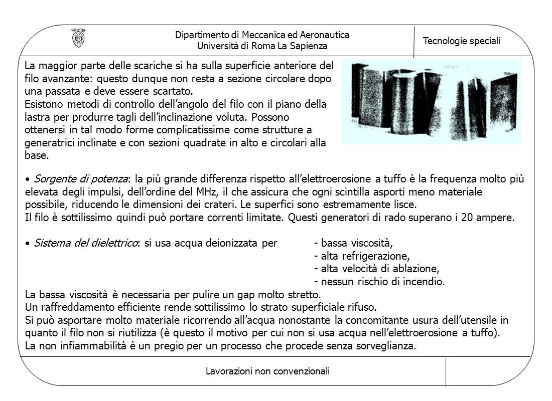 Dipartimento di Meccanica ed Aeronautica Università di Roma La Sapienza Tecnologie speciali Lavorazioni non convenzionali La maggior parte delle scari