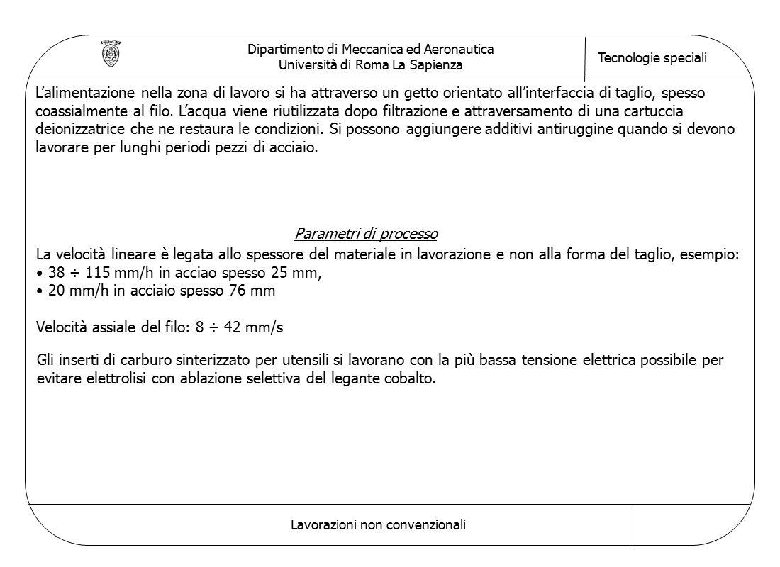 Dipartimento di Meccanica ed Aeronautica Università di Roma La Sapienza Tecnologie speciali Lavorazioni non convenzionali L'alimentazione nella zona di lavoro si ha attraverso un getto orientato all'interfaccia di taglio, spesso coassialmente al filo.