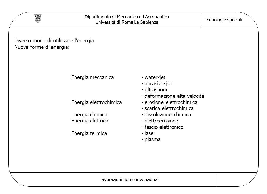 Dipartimento di Meccanica ed Aeronautica Università di Roma La Sapienza Tecnologie speciali Lavorazioni non convenzionali Diverso modo di utilizzare l'energia Nuove forme di energia: Energia meccanica- water-jet - abrasive-jet - ultrasuoni - deformazione alta velocità Energia elettrochimica- erosione elettrochimica - scarica elettrochimica Energia chimica- dissoluzione chimica Energia elettrica- elettroerosione - fascio elettronico Energia termica- laser - plasma