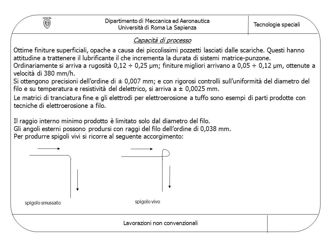 Dipartimento di Meccanica ed Aeronautica Università di Roma La Sapienza Tecnologie speciali Lavorazioni non convenzionali Capacità di processo Ottime