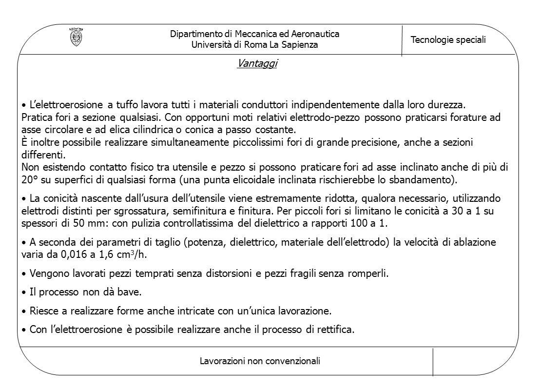 Dipartimento di Meccanica ed Aeronautica Università di Roma La Sapienza Tecnologie speciali Lavorazioni non convenzionali Vantaggi L'elettroerosione a tuffo lavora tutti i materiali conduttori indipendentemente dalla loro durezza.