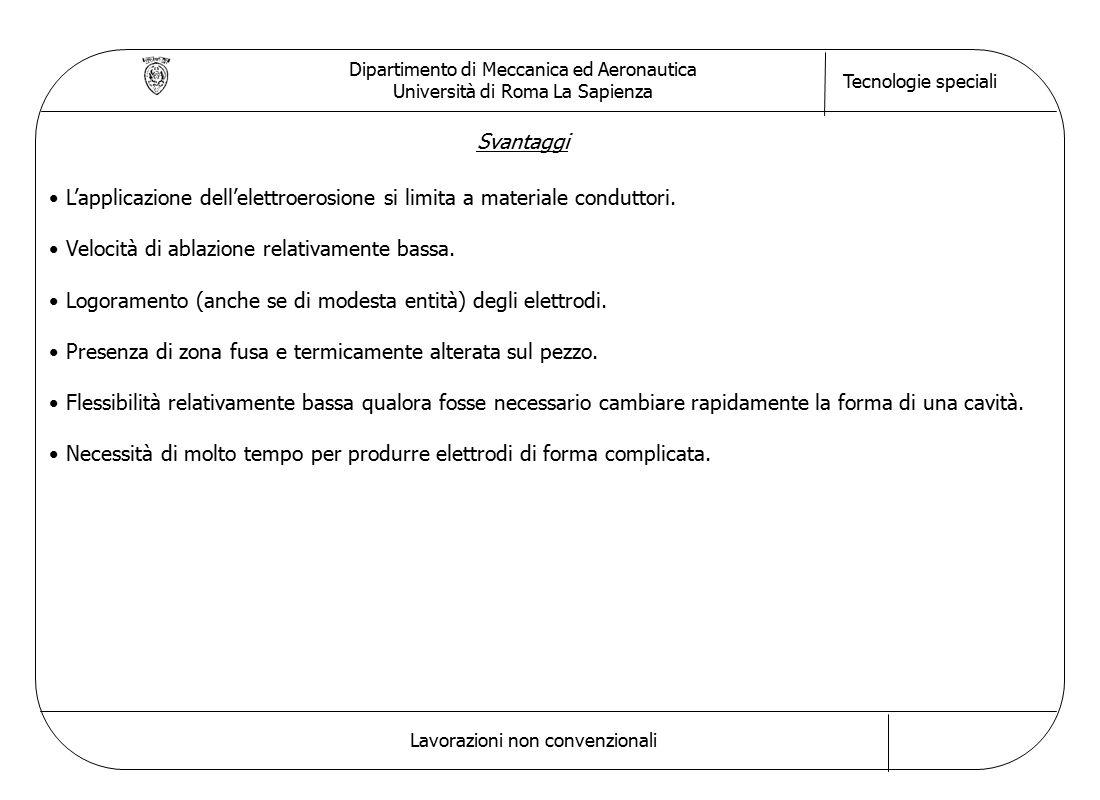 Dipartimento di Meccanica ed Aeronautica Università di Roma La Sapienza Tecnologie speciali Lavorazioni non convenzionali Svantaggi L'applicazione dell'elettroerosione si limita a materiale conduttori.