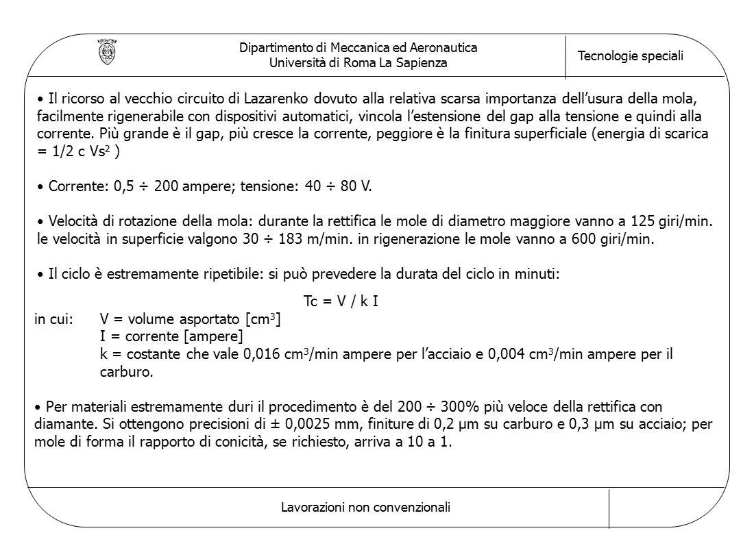 Dipartimento di Meccanica ed Aeronautica Università di Roma La Sapienza Tecnologie speciali Lavorazioni non convenzionali Il ricorso al vecchio circui