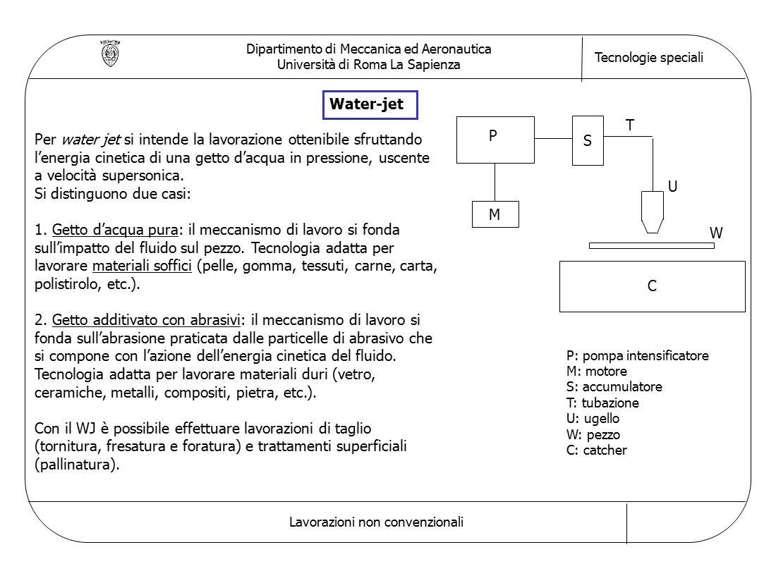 Dipartimento di Meccanica ed Aeronautica Università di Roma La Sapienza Tecnologie speciali Lavorazioni non convenzionali Water-jet Per water jet si intende la lavorazione ottenibile sfruttando l'energia cinetica di una getto d'acqua in pressione, uscente a velocità supersonica.