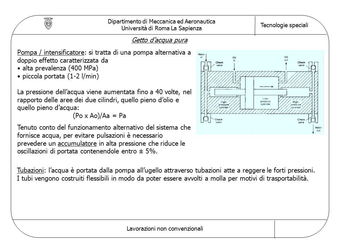 Dipartimento di Meccanica ed Aeronautica Università di Roma La Sapienza Tecnologie speciali Lavorazioni non convenzionali Pompa / intensificatore: si tratta di una pompa alternativa a doppio effetto caratterizzata da alta prevalenza (400 MPa) piccola portata (1-2 l/min) La pressione dell'acqua viene aumentata fino a 40 volte, nel rapporto delle aree dei due cilindri, quello pieno d'olio e quello pieno d'acqua: (Po x Ao)/Aa = Pa Tenuto conto del funzionamento alternativo del sistema che fornisce acqua, per evitare pulsazioni è necessario prevedere un accumulatore in alta pressione che riduce le oscillazioni di portata contenendole entro ± 5%.