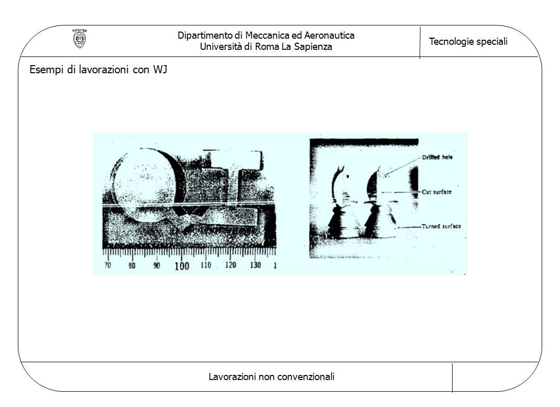 Dipartimento di Meccanica ed Aeronautica Università di Roma La Sapienza Tecnologie speciali Lavorazioni non convenzionali Esempi di lavorazioni con WJ