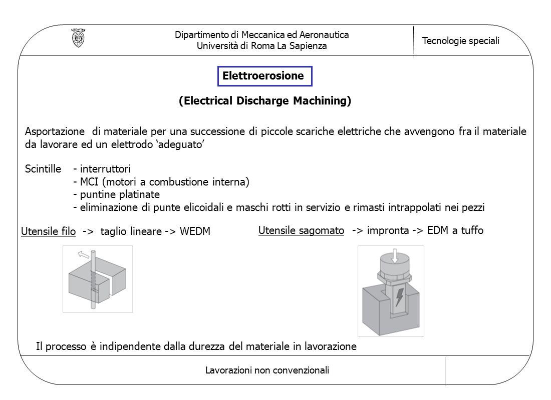 Dipartimento di Meccanica ed Aeronautica Università di Roma La Sapienza Tecnologie speciali Lavorazioni non convenzionali Elettroerosione Asportazione di materiale per una successione di piccole scariche elettriche che avvengono fra il materiale da lavorare ed un elettrodo 'adeguato' Scintille- interruttori - MCI (motori a combustione interna) - puntine platinate - eliminazione di punte elicoidali e maschi rotti in servizio e rimasti intrappolati nei pezzi Utensile filo -> taglio lineare -> WEDM (Electrical Discharge Machining) Utensile sagomato -> impronta -> EDM a tuffo Il processo è indipendente dalla durezza del materiale in lavorazione
