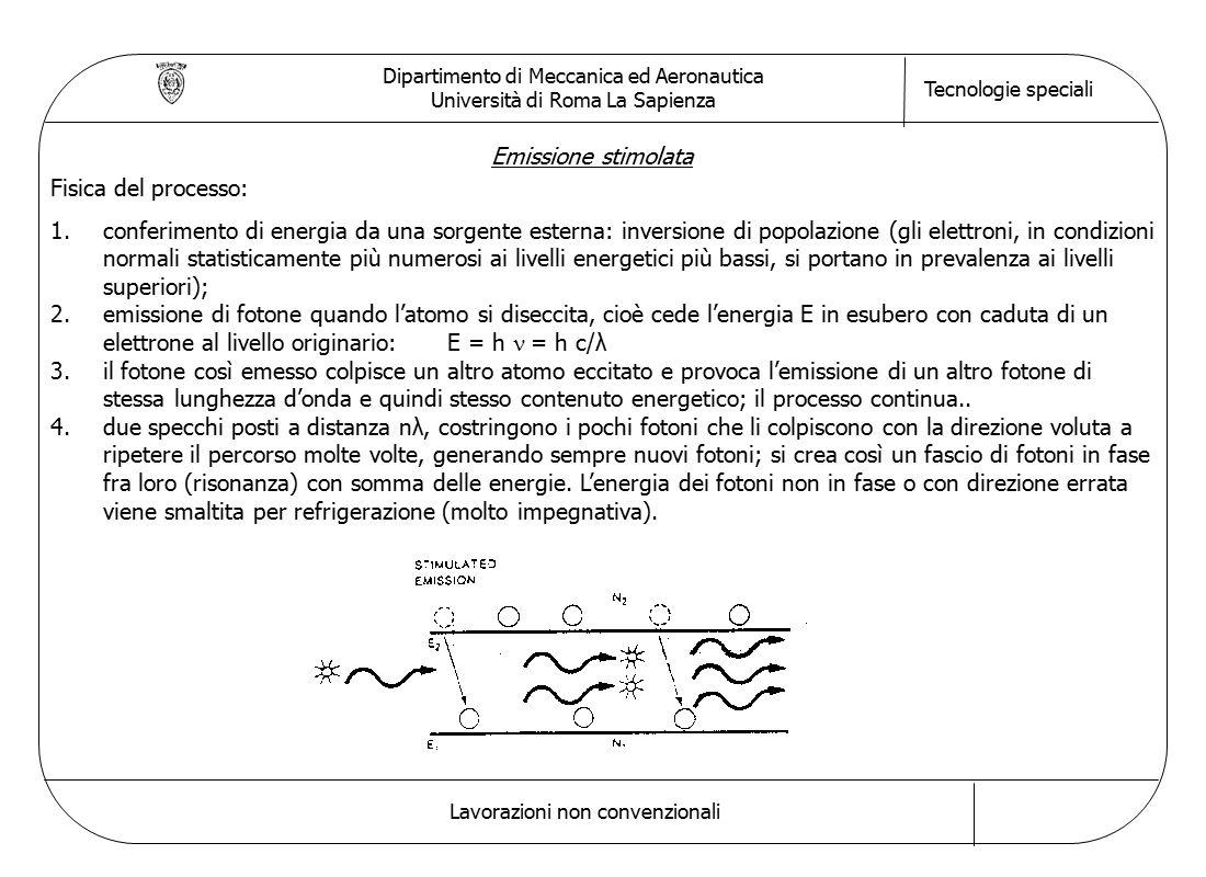 Dipartimento di Meccanica ed Aeronautica Università di Roma La Sapienza Tecnologie speciali Lavorazioni non convenzionali Emissione stimolata Fisica del processo: 1.conferimento di energia da una sorgente esterna: inversione di popolazione (gli elettroni, in condizioni normali statisticamente più numerosi ai livelli energetici più bassi, si portano in prevalenza ai livelli superiori); 2.emissione di fotone quando l'atomo si diseccita, cioè cede l'energia E in esubero con caduta di un elettrone al livello originario: E = h  = h c/λ 3.il fotone così emesso colpisce un altro atomo eccitato e provoca l'emissione di un altro fotone di stessa lunghezza d'onda e quindi stesso contenuto energetico; il processo continua..