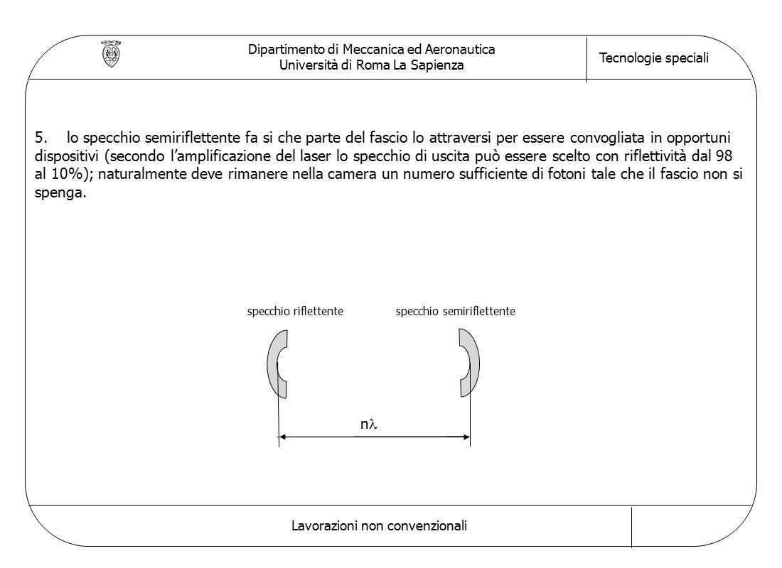 Dipartimento di Meccanica ed Aeronautica Università di Roma La Sapienza Tecnologie speciali Lavorazioni non convenzionali 5.