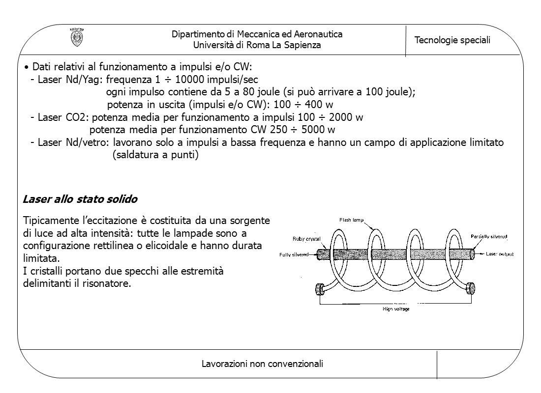 Dipartimento di Meccanica ed Aeronautica Università di Roma La Sapienza Tecnologie speciali Lavorazioni non convenzionali Dati relativi al funzionamento a impulsi e/o CW: - Laser Nd/Yag: frequenza 1 ÷ 10000 impulsi/sec ogni impulso contiene da 5 a 80 joule (si può arrivare a 100 joule); potenza in uscita (impulsi e/o CW): 100 ÷ 400 w - Laser CO2: potenza media per funzionamento a impulsi 100 ÷ 2000 w potenza media per funzionamento CW 250 ÷ 5000 w - Laser Nd/vetro: lavorano solo a impulsi a bassa frequenza e hanno un campo di applicazione limitato (saldatura a punti) Laser allo stato solido Tipicamente l'eccitazione è costituita da una sorgente di luce ad alta intensità: tutte le lampade sono a configurazione rettilinea o elicoidale e hanno durata limitata.