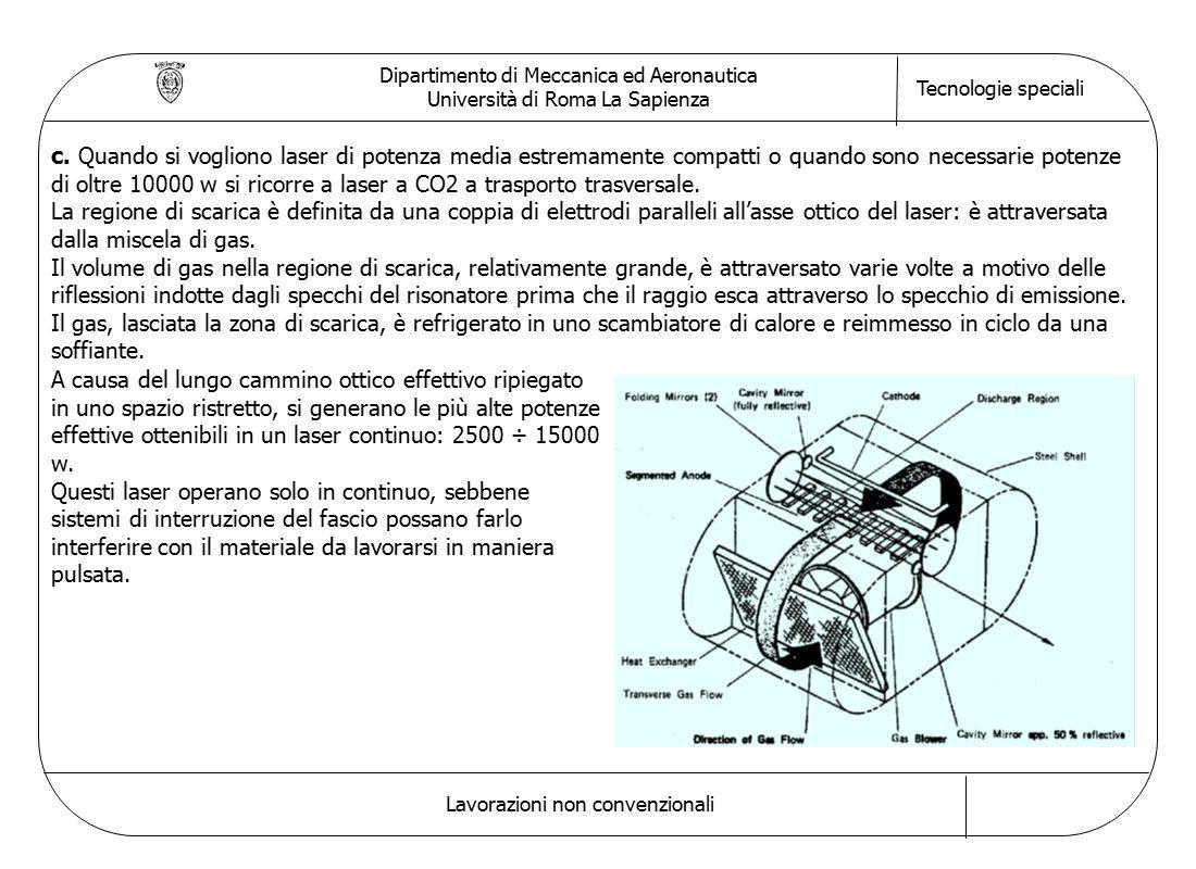 Dipartimento di Meccanica ed Aeronautica Università di Roma La Sapienza Tecnologie speciali Lavorazioni non convenzionali c.