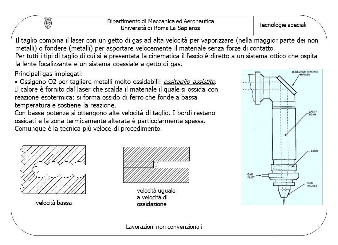 Dipartimento di Meccanica ed Aeronautica Università di Roma La Sapienza Tecnologie speciali Lavorazioni non convenzionali Il taglio combina il laser c
