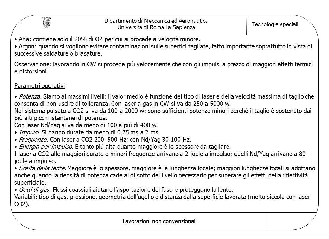 Dipartimento di Meccanica ed Aeronautica Università di Roma La Sapienza Tecnologie speciali Lavorazioni non convenzionali Aria: contiene solo il 20% di O2 per cui si procede a velocità minore.