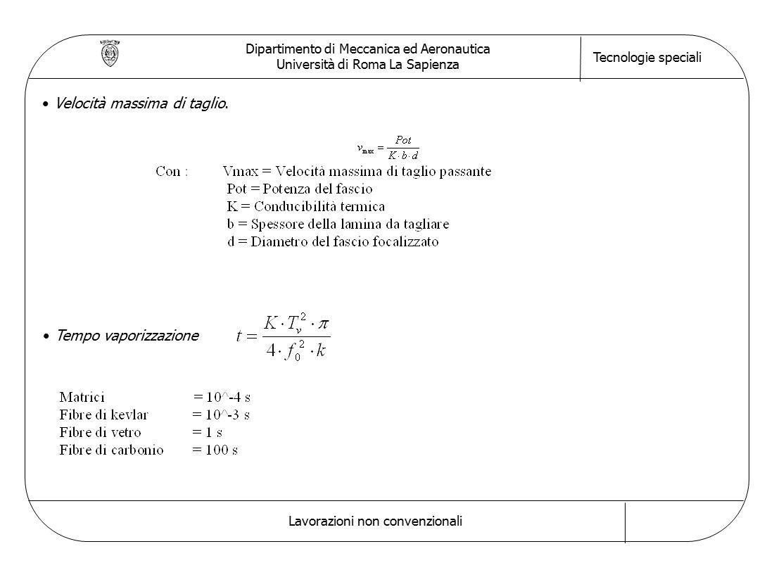 Dipartimento di Meccanica ed Aeronautica Università di Roma La Sapienza Tecnologie speciali Lavorazioni non convenzionali Velocità massima di taglio.