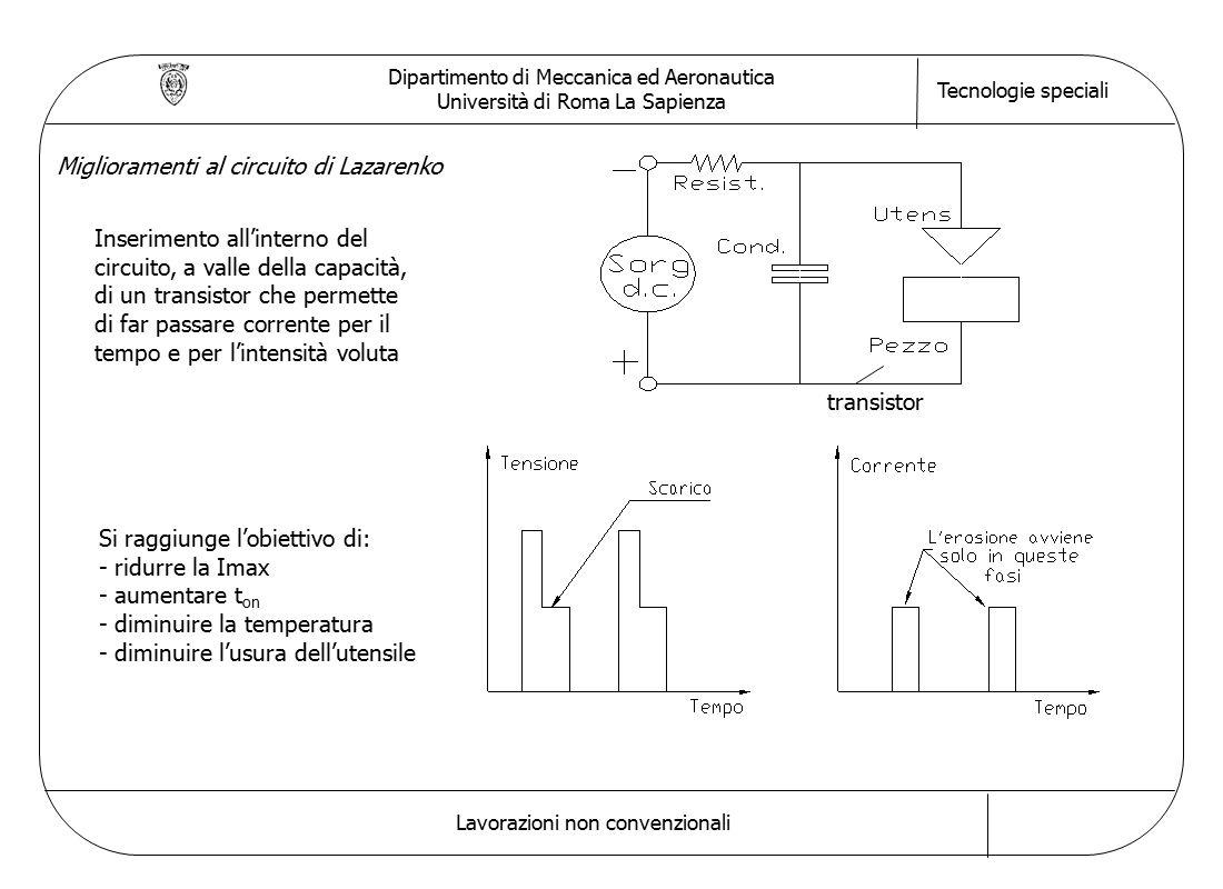 Dipartimento di Meccanica ed Aeronautica Università di Roma La Sapienza Tecnologie speciali Lavorazioni non convenzionali Inserimento all'interno del circuito, a valle della capacità, di un transistor che permette di far passare corrente per il tempo e per l'intensità voluta Si raggiunge l'obiettivo di: - ridurre la Imax - aumentare t on - diminuire la temperatura - diminuire l'usura dell'utensile Miglioramenti al circuito di Lazarenko transistor