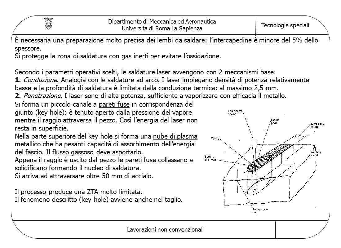 Dipartimento di Meccanica ed Aeronautica Università di Roma La Sapienza Tecnologie speciali Lavorazioni non convenzionali È necessaria una preparazione molto precisa dei lembi da saldare: l'intercapedine è minore del 5% dello spessore.