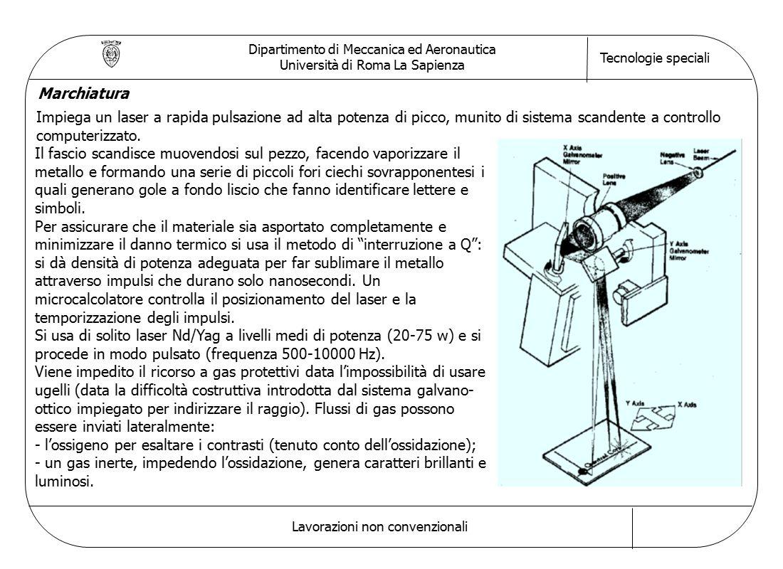 Dipartimento di Meccanica ed Aeronautica Università di Roma La Sapienza Tecnologie speciali Lavorazioni non convenzionali Marchiatura Impiega un laser a rapida pulsazione ad alta potenza di picco, munito di sistema scandente a controllo computerizzato.