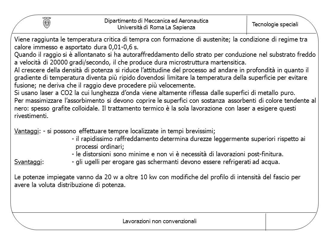 Dipartimento di Meccanica ed Aeronautica Università di Roma La Sapienza Tecnologie speciali Lavorazioni non convenzionali Viene raggiunta le temperatu