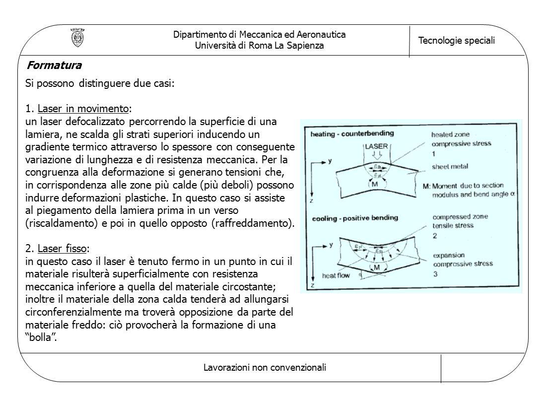 Dipartimento di Meccanica ed Aeronautica Università di Roma La Sapienza Tecnologie speciali Lavorazioni non convenzionali Formatura Si possono disting