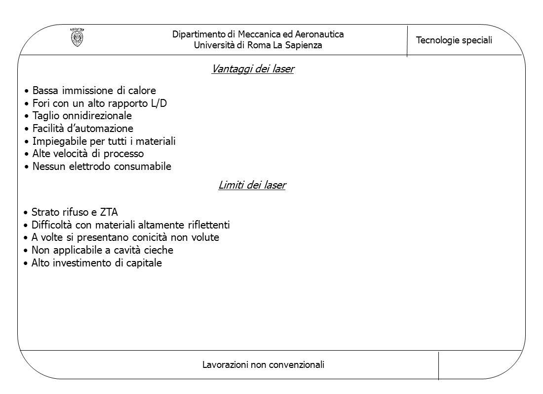 Dipartimento di Meccanica ed Aeronautica Università di Roma La Sapienza Tecnologie speciali Lavorazioni non convenzionali Vantaggi dei laser Bassa immissione di calore Fori con un alto rapporto L/D Taglio onnidirezionale Facilità d'automazione Impiegabile per tutti i materiali Alte velocità di processo Nessun elettrodo consumabile Limiti dei laser Strato rifuso e ZTA Difficoltà con materiali altamente riflettenti A volte si presentano conicità non volute Non applicabile a cavità cieche Alto investimento di capitale
