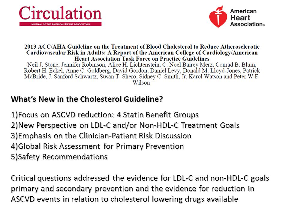 What's New in the Cholesterol Guideline.