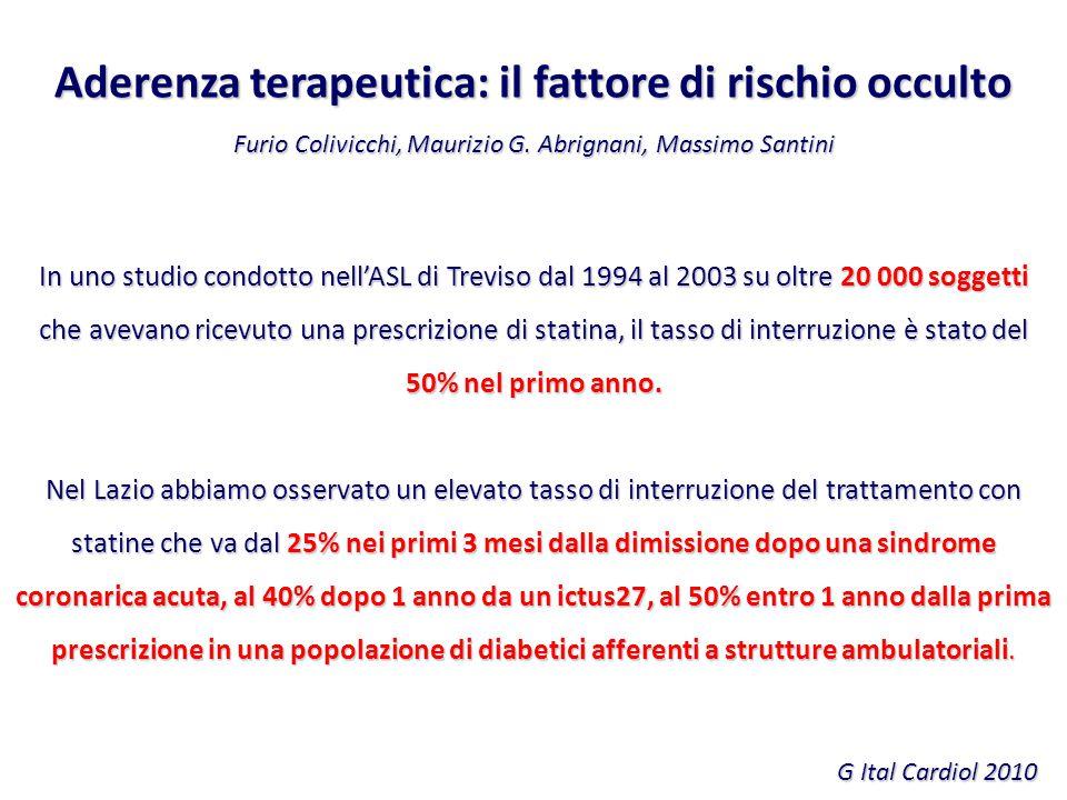 Aderenza terapeutica: il fattore di rischio occulto Furio Colivicchi, Maurizio G. Abrignani, Massimo Santini G Ital Cardiol 2010 In uno studio condott