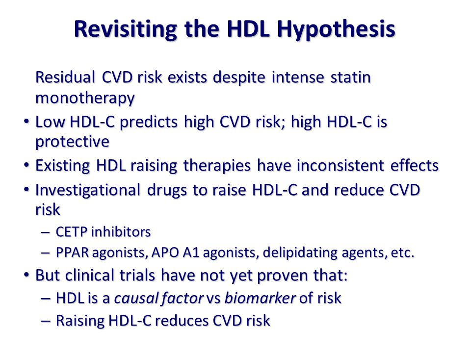 Residual CVD risk exists despite intense statin monotherapy Low HDL-C predicts high CVD risk; high HDL-C is protective Low HDL-C predicts high CVD risk; high HDL-C is protective Existing HDL raising therapies have inconsistent effects Existing HDL raising therapies have inconsistent effects Investigational drugs to raise HDL-C and reduce CVD risk Investigational drugs to raise HDL-C and reduce CVD risk – CETP inhibitors – PPAR agonists, APO A1 agonists, delipidating agents, etc.