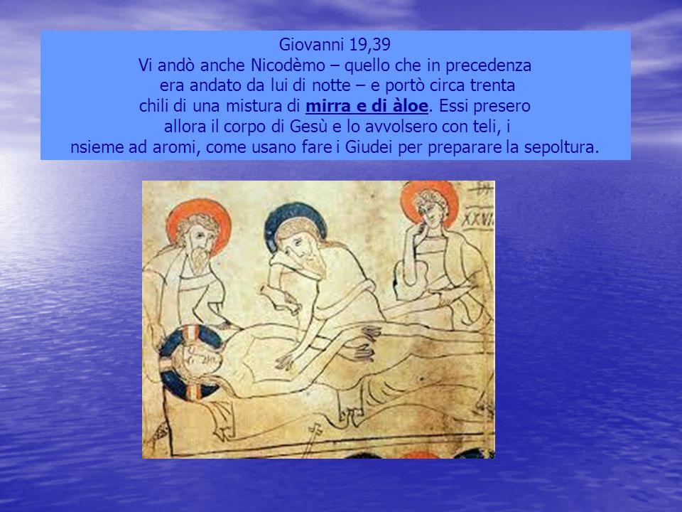 Giovanni 19,39 Vi andò anche Nicodèmo – quello che in precedenza era andato da lui di notte – e portò circa trenta chili di una mistura di mirra e di