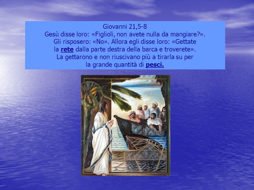 Giovanni 21,5-8 Gesù disse loro: «Figlioli, non avete nulla da mangiare?». Gli risposero: «No». Allora egli disse loro: «Gettate la rete dalla parte d