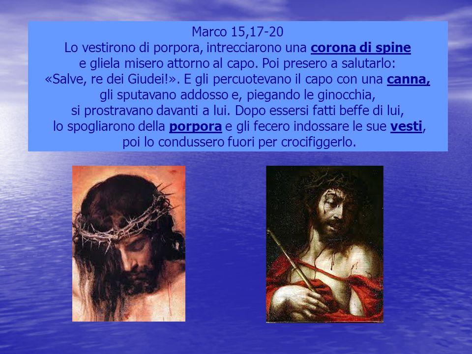 Marco 15,17-20 Lo vestirono di porpora, intrecciarono una corona di spine e gliela misero attorno al capo. Poi presero a salutarlo: «Salve, re dei Giu