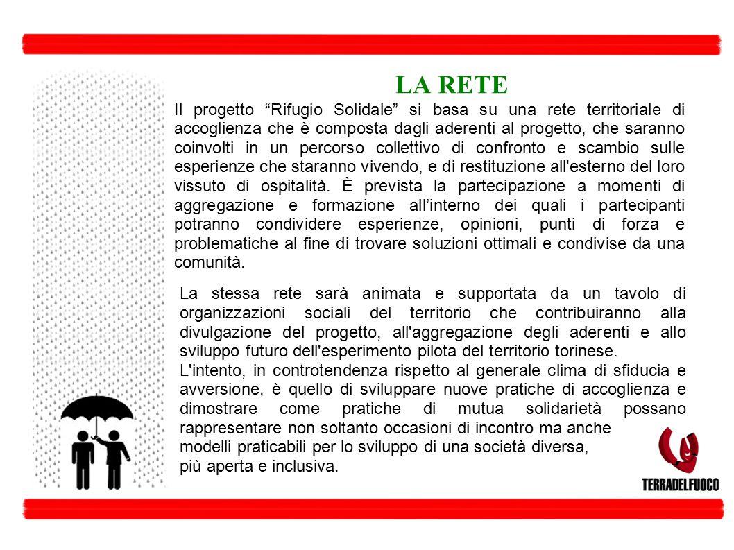"""LA RETE Il progetto """"Rifugio Solidale"""" si basa su una rete territoriale di accoglienza che è composta dagli aderenti al progetto, che saranno coinvolt"""