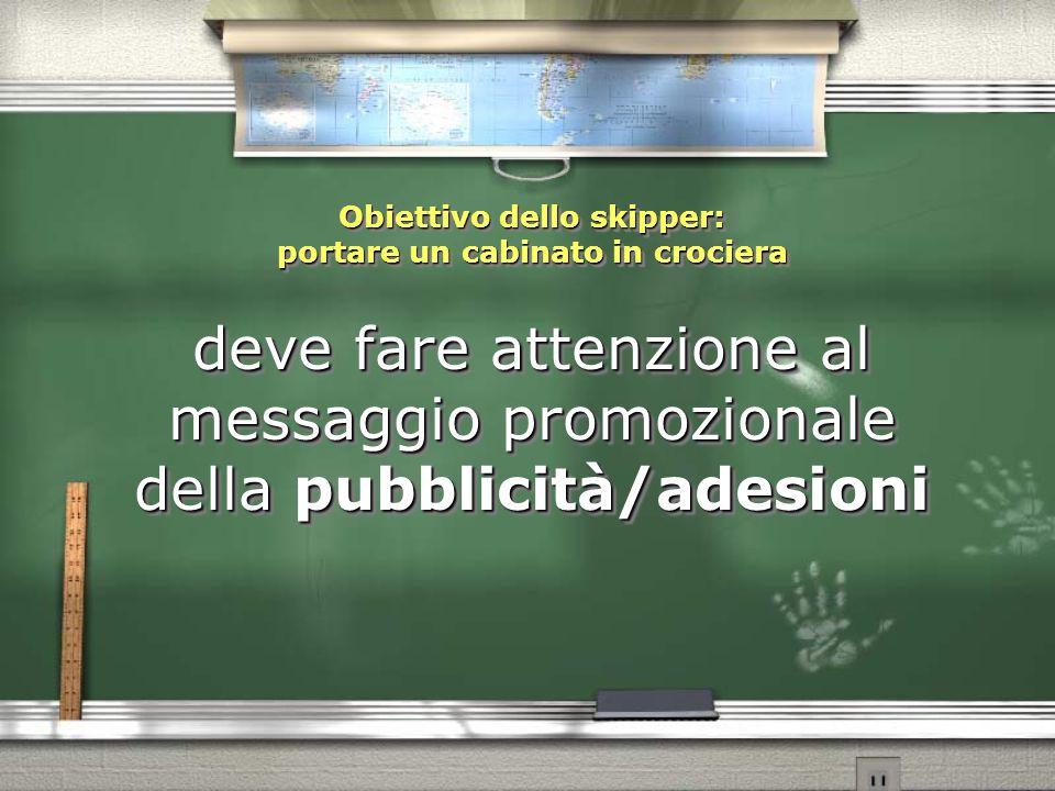 Obiettivo dello skipper: portare un cabinato in crociera deve fare attenzione al messaggio promozionale della pubblicità/adesioni