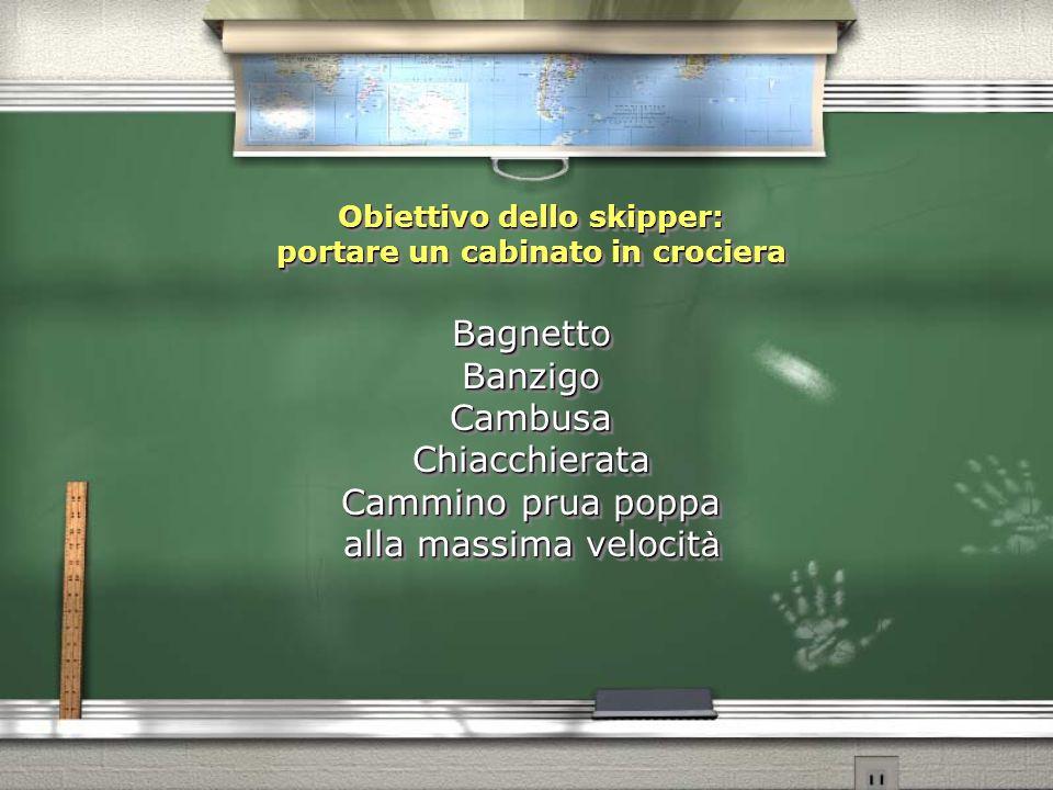 Obiettivo dello skipper: portare un cabinato in crociera Bagnetto Banzigo Cambusa Chiacchierata Cammino prua poppa alla massima velocit à