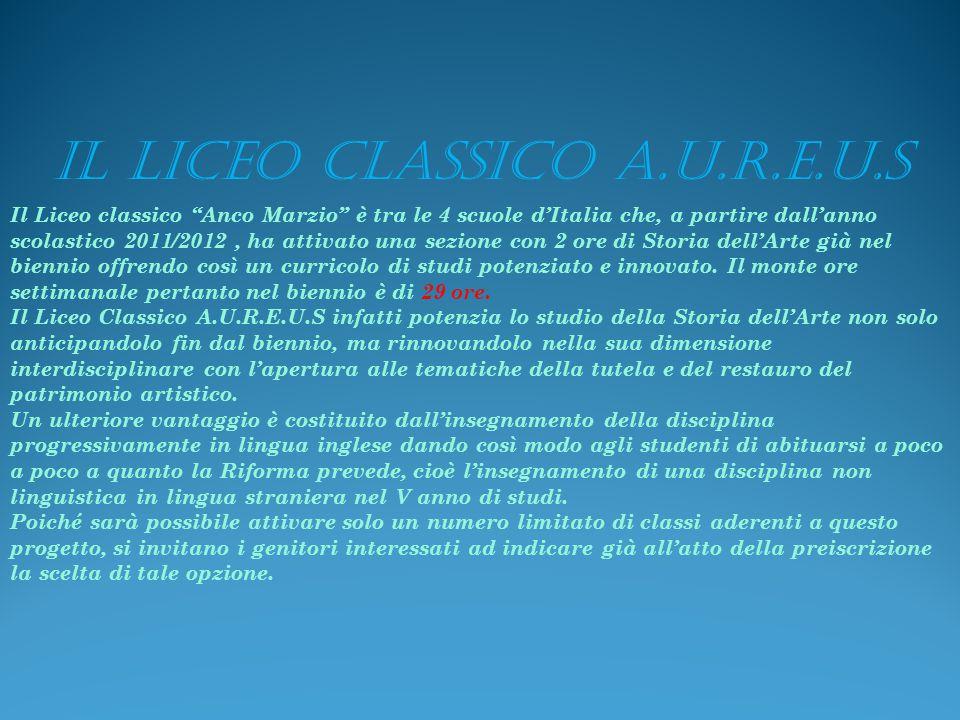 Il Liceo classico Anco Marzio è tra le 4 scuole d'Italia che, a partire dall'anno scolastico 2011/2012, ha attivato una sezione con 2 ore di Storia dell'Arte già nel biennio offrendo così un curricolo di studi potenziato e innovato.